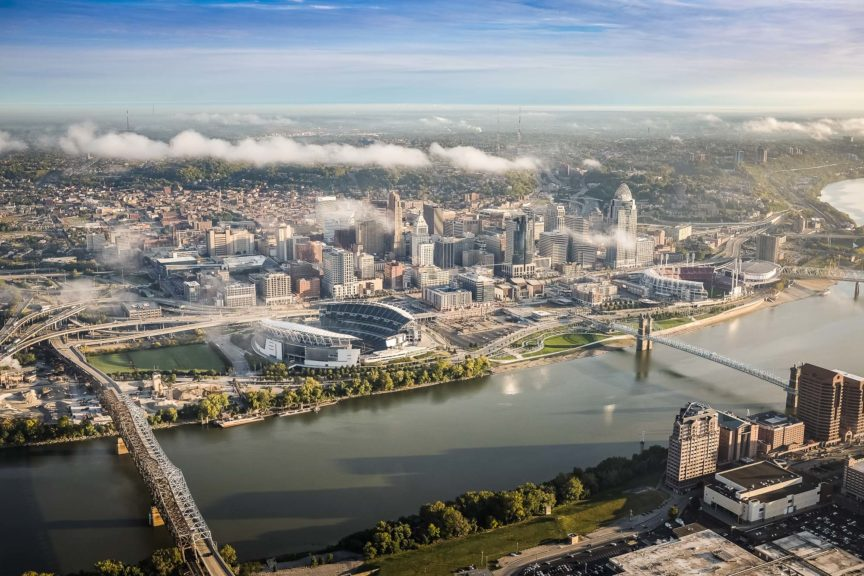 Aerial view of Cincinnati Ohio from above