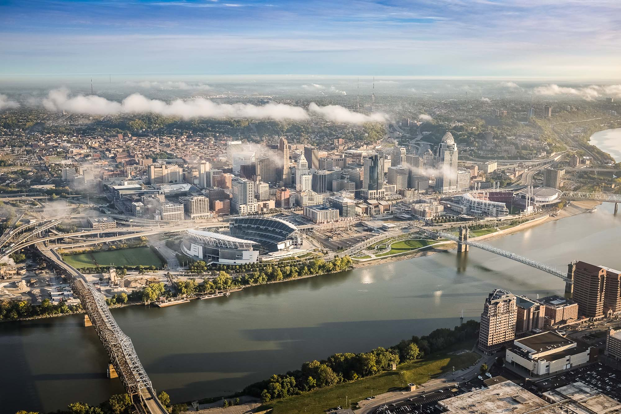 Aerial view of Cincinnati Ohio from above